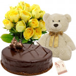 Cute Gift - Bunch 12 Yellow Roses + 1/2 kg Chocolate Cake + Teddy 6 inch + Card