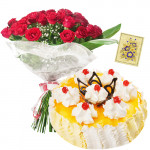 Love Is Forever - Bunch 12 Red Roses + 1 kg Pineapple Cake + Card
