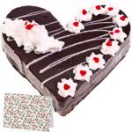 Black Forest Heart Cake 1 Kg + Card