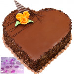Chocolate Heart Shape Cake 1 Kg + Card