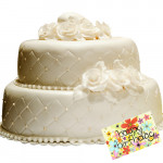 Two Tier Wedding Cake 3 Kg + Card