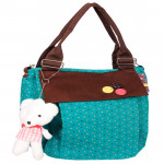 Blue & Brown College Bag with teddy (14 inch by 14 inch)