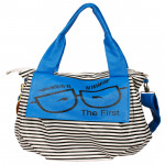 Blue Color College Bag with stripes (12 inch by 14 inch)