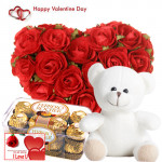 "Big Valentines Gift - Red Heart Shape Arrangement 30 Roses + 16 Pcs Ferrero Rocher + Soft Toy 8"" + Card"