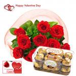 Lovely Valentine Feelings - 12 Red Roses Bunch + Ferreo Rocher 16 pcs + Card