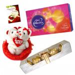 Romantic Teddy Love - Couple Teddy with Heart, Ferrero Rocher 4 pcs, Cadbury Celebrations 118 gms & Card