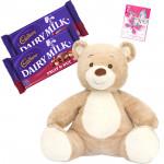 Joy of Cadbury - Teddy 8 inch, 2 Fruit N Nut 34 gms each & Card