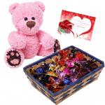 Choco Teddy Love - Teddy 12 inch, Handmade Chocolates Basket 150 gms  & Card