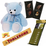 Teddy n Chocolates Combo - Teddy 6 inch, 2 Bournville 30 gms each, Toblerone, Temptations & Card