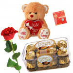 Beary Love - Teddy 6 inch with Heart, Ferrero Rocher 16 pcs, 1 Artificial Rose & Card
