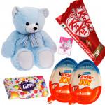 Dazzling Grand Chocolates - Teddy 10 inch, 2 Kinder Joy, 2 Kitkat, Gems & Card