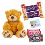 Teddy Love - Teddy 6 inch, 2 Kitkat, 1 Gems, 2 Dairymilk, 2 Five star & Card