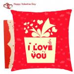 I Love You Gift Box Cushion & Valentine Greeting Card