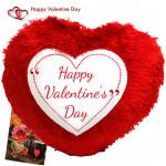 Happy Valentines Day Heart Shape Cushion & Valentine Greeting Card