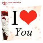 I Love You Cushion & Valentine Greeting Card