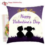 To My Love Happy Valentines Day in moon Cushion  & Valentine Greeting Card