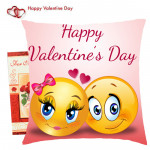 Happy Valentines Day with Smiley Cushion & Valentine Greeting Card