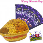 Wonderful Assortment - Assorted Dry Fruits 200 gms Basket, 5 Dairy Milk and Card