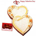Double Treat - Double Heart Shape Cake 2.5 kg and Card