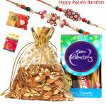 Almond Celebrations - Almond in Potli, Mini Celebration with 2 Rakhi and Roli-Chawal