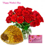 Dryfruits Treat - 12 Red Roses in Vase, Basket of 400gm Dryfruits and Card