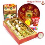 "Rich Mix Thali - Kaju Mix, Meenakari Thali 6"" , 2 Kitkat , 1 Gems with Bhaidooj Tikka and Laxmi-Ganesha Coin"
