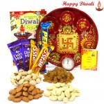 Dryfruit Special Thali - Assorted Dry Fruits 200 gms, Meenakari Thali 6 inch, Cadbury Chocolate Bars 5 pcs with Bhaidooj Tikka and Laxmi-Ganesha Coin