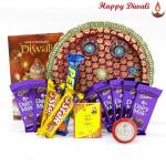 Choco Assortment Thali - Puja Thali (M), Assorted Chocolate Bars 5 pcs, 5 Dairy Milk Bars with Bhaidooj Tikka and Laxmi-Ganesha Coin