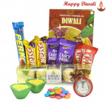 Choco Chocolaty - 5 Assorted Bars, Ferrero Rocher 5 pcs, 2 Kitkat , 1 Gems with 2 Diyas and Laxmi-Ganesha Coin