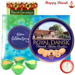 Crispy Choco - Cadbury Celebration, Danish Cookies with 4 Diyas and Laxmi-Ganesha Coin