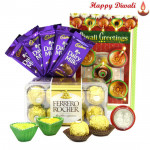 Special Combo - Ferrero Rocher 16 pcs, 5 Dairy Milk Bars with 2 Diyas and Laxmi-Ganesha Coin
