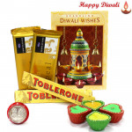 Colorful Wishes - 2 Temptations, 2 Toblerone with 4 Diyas and Laxmi-Ganesha Coin