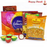 Elegant Hamper - Cadbury Celebration, 2 Namkeen with 4 Diyas and Laxmi-Ganesha Coin