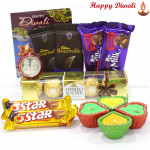 Awsome Chocolates - Ferrero Rocher 5 Pcs, 2 Fruit n Nut, 2 Five Stars, 2 Bournville with 4 Diyas and Laxmi-Ganesha Coin