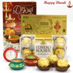 Just Surprise - Ferrero Rocher 16 pcs, 24 Carat Gold Plated Dhan Laxmi Varsha Note with 2 Diyas and Laxmi-Ganesha Coin