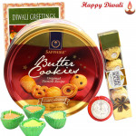 Khatta-Meetha - Ferrero Rocher 5 pcs, Danish Cookies with 4 Diyas and Laxmi-Ganesha Coin