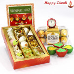 Ferrero Mix - Kaju Mix, Ferrero Rocher 16 pcs with 4 Diyas and Laxmi-Ganesha Coin