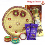 Assorted Choco Thali - Ferraro Rocher 4 pcs, 2 Dairymilk Bars, Puja Thali (W) with 2 Diyas and Laxmi-Ganesha Coin
