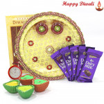 Diwali Choco Celebration - 5 Cadbury's Dairy Milk Bars, Puja Thali (W) with 4 Diyas and Laxmi-Ganesha Coin