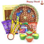 Special Choco Thali - 5 Assorted Bars, Puja Thali (M), 2 Kitkat , 1 Gems with 4 Diyas and Laxmi-Ganesha Coin