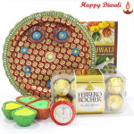 Choco Feast Thali - Ferraro Rocher 16 pcs, Puja Thali (M) with 4 Diyas and Laxmi-Ganesha Coin