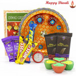 Assorted Chocolate Thali - Puja Thali (O), 5 Assorted Bars, 2 Bournville bars with 4 Diyas and Laxmi-Ganesha Coin