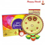 Delicious Choco Thali - Cadbury's Celebrations, Puja Thali (W), 24 Carat Gold Plated Dhan Laxmi Varsha Note with 4 Diyas and Laxmi-Ganesha Coin