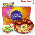 Choco Wonder Thali - Cadbury's celebrations, Meenakari Thali 6 inch with 4 Diyas and Laxmi-Ganesha Coin
