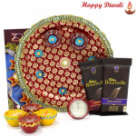 Choco Treat Thali - 2 Bournville, Puja Thali (M) with 4 Diyas and Laxmi-Ganesha Coin