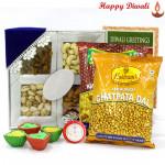 Relishing Dryfruits - Assorted Dryfruits 200 gms, 2 Haldiram Namkeen with 4 Diyas and Laxmi-Ganesha Coin