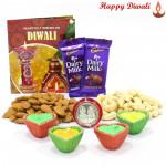 Mix Dry Hamper - Cashew & Almonds 200 gms, 2 Dairy Milk Bars with 4 Diyas and Laxmi-Ganesha Coin