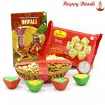 Decorated Dryfruits - Assorted Dryfruits 200 gms Basket, Haldiram Soan Papdi with 4 Diyas and Laxmi-Ganesha Coin