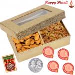 Crunchy Bite - Almonds Raisin 200 gms with 4 Diyas and Laxmi-Ganesha Coin