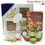 Assorted Hamper - Assorted Dryfruits 200 gms, Kaju Katli 250 gms with 4 Diyas and Laxmi-Ganesha Coin